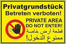 Aufkleber Privatgrundstück Betreten verboten