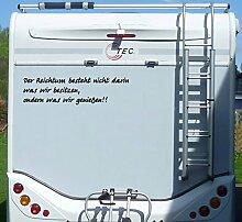 Aufkleber Reichtum ist was wir genießen Wohnmobil Wohnwagen Camping Caravan Auto - 100 cm / Weiß