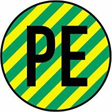 Aufkleber Schutzleiter PE, gelb/grün, Folie,