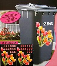 AUFKLEBER SET für Abfalltonne mit Hausnummer