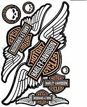 Aufkleber Set Harley Davidson Wings Bronze (ca.