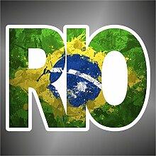 Aufkleber - Sticker Bandiera Rio de Janeiro Brasile Brazil Flag sticker