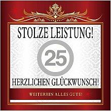 Aufkleber Stolze Leistung 25 zur Silberhochzeit zb für Sektflasche