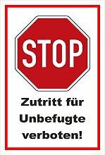 Aufkleber - Stop - Halt - Zutritt für Unbefugte
