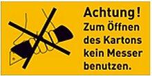 Aufkleber Text: Achtung! Zum Öffnen des Kartons