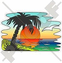 Aufkleber Tropischer Sonnenuntergang mit Palme, exotischer Urlaub, 150mm, Vinyl, Stoßstangensticker