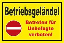 Aufkleber - Verbot der Einfahrt - Betriebsgelände