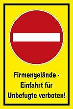 Aufkleber - Verbot der Einfahrt - Firmengelände -