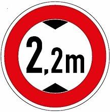 Aufkleber Verkehrszeichen Durchfahrtshöhe 2,2m