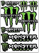 Aufkleber wählbar Adhesivo Sticker 8Aufkleber Sticker Vinyl Auto Motorrad Roller Fahrrad Monster grün Sponsor KTM Ducati 24x 16Aufkleber Autocollan