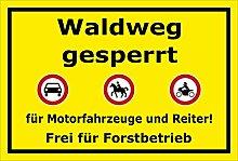 Aufkleber – Waldweg gesperrt für Motorfahrzeuge