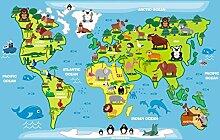 Aufkleber Wandaufkleber Wand Dekoration fürs Baby Kindergarten Kinderzimmer Babyzimmer Wandtattoo Weltkarte Landkate Globus karte für Kinder XXL 150 cm x 94 cm