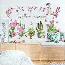 Aufkleber Wandsticker Wandaufkleberflamingo Kaktus