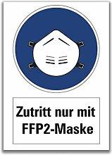 Aufkleber Warnung Zutritt nur mit FFP2-Maske