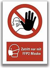 Aufkleber Warnung Zutritt nur mit FFP2 Maske