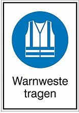 Aufkleber Warnweste tragen Kombizeichen/Gebot