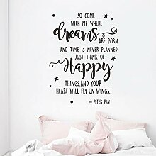 Aufkleber Wohnkultur Träume Glücklich Text