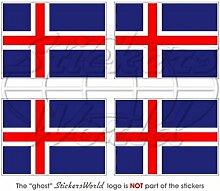 Aufkleber X4 für Helm oder Stoßstange, Motiv: Flagge von Island, 50mm, Vinyl