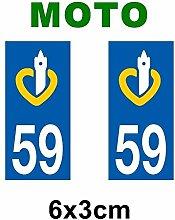 Aufkleber-Zulassung für Motorrad Nord Pas de Calais Abteilung Nord-Pas de Calais keine 62/Calais
