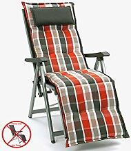 Aufla172gen mit Kopfpolster für Relax Liegestuhl Miami 90542-450 grau-orange gestreift (ohne Relax)