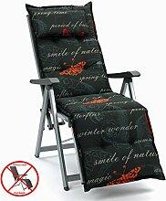 Auflagen mit Kopfpolster für Relax Liegestuhl Ibiza 40240-701 Schmetterling schwarz (ohne Relax)