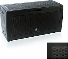 Auflagenbox 120x50x60 Rattan Braun Gartentruhe Kissenbox Universalbox Kissentruhe Werkzeugbox