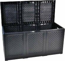 Auflagenbox / Gartentruhe XXL aus Kunststoff, L120 x B52 x H60 cm, ca. 380 Liter, mit Rollen, 2 Stück - kostenlose Lieferung