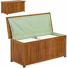 Auflagenbox Holztruhe Akazienholz Holz 117cm Kissenbox Gartenbox Gartentruhe mit Innenplane Truhe