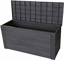Auflagenbox in Holzoptik Gartenbox Anthrazit 300L / 120x46xH58cm Gartentruhe Kissenbox für Polsterauflagen Aufbewahrungsbox Aufbewahrungskiste Auflagentruhe