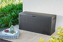 Auflagenbox / Kissenbox Koll Living 270 Liter Farbe : GRAPHIT l 100% Wasserdicht l mit Belüftung dadurch kein übler Geruch / Schimmel l Moderne Holzoptik l Deckel belastbar bis 250 KG ( 2 Personen )
