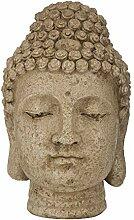 Aufora Buddha Kopf Statue, beige, 30cm