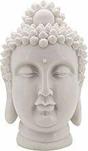 Aufora Buddha Kopf Statue, weiß, 40cm
