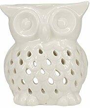 Aufora Duftlampe Eulenform, Keramik, Weiß, 10 cm