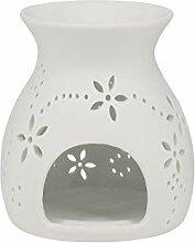 Aufora Duftlampe mit Blumenmuster, Weiß, 11 cm