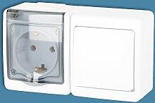 Aufputz 1- fach Steckdose mit Schalter Feuchtraum Kombination Schuko Weiß IP44 16A/250V