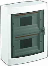 Aufputz Kleinverteiler 16 Module / Sicherungskasten / Verteilerkasten Aufputz IP40, 2-reihig mit Hutschiene + PE/N Klemmen