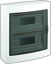 Aufputz Kleinverteiler 24 Module / Sicherungskasten / Verteilerkasten Aufputz IP40, 2-reihig mit Hutschiene + PE/N Klemmen