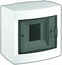 Aufputz Kleinverteiler 4 Module / Sicherungskasten / Verteilerkasten Aufputz IP40, 1-reihig mit Hutschiene