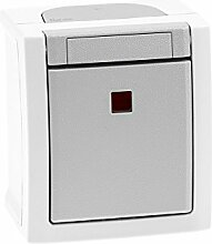 Aufputz Kontrollschalter/Ausschalter 2-polig beleuchtet Feuchtraum IP54, rot leuchtende Kalotte, Modell Pacific, grau