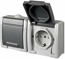 Aufputz Schuko zweifach Steckdose IP55 Farbe grau Feuchtraum AQUANT
