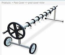 Aufroller Pool Abdeckung Solarfolie Schwimmbad max 6,45 Meter Edelstahl und Aluminium
