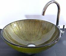Aufsatz Glas Waschbecken grün braun Lucca