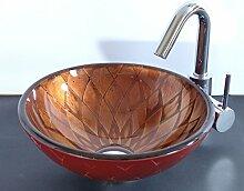Aufsatz Glas Waschbecken rot braun Roma 31cm