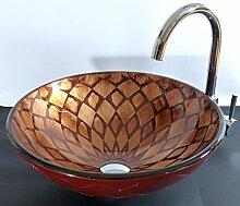 Aufsatz Glas Waschbecken rot braun Roma 42cm