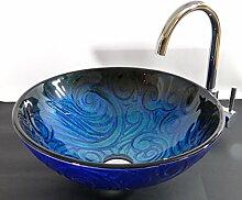 Aufsatz Glas Waschbecken rund blau Azul