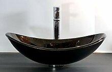 Aufsatz Glas Waschbecken schwarz braun oval