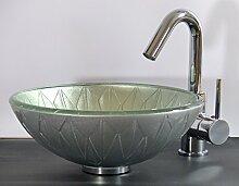 Aufsatz Glas Waschbecken silber 31cm