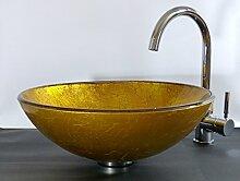 Aufsatz Glas Waschbecken Sol gold ro