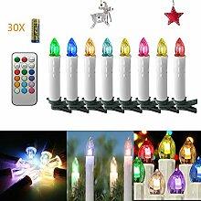 Aufun 30 Stück RGB Weinachten LED