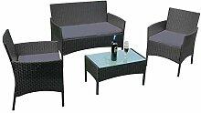 Aufun Balkon Möbel Set Rattan Lounge Set